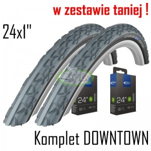 "Komplet Schwalbe DOWNTOWN 24x1"" szare"